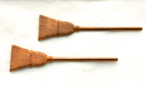 2 vintage witches brooms 1950s Halloween