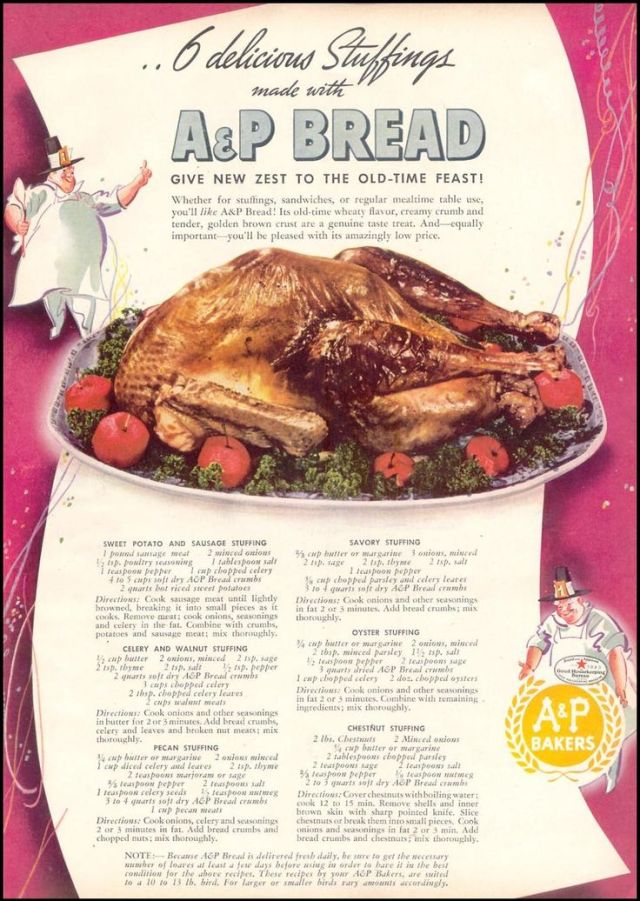 vintage 1940s stuffing receipe ad