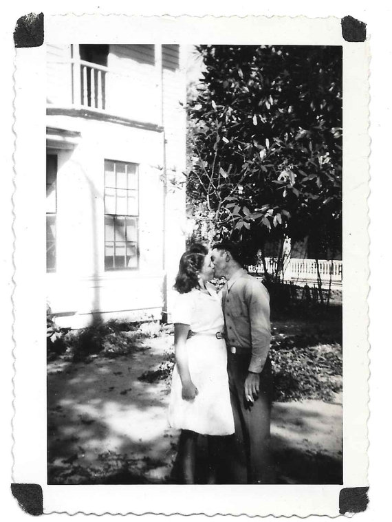 vintage Photo Woman Kisses her Soldier WW2 snapshot 1940s Home Front