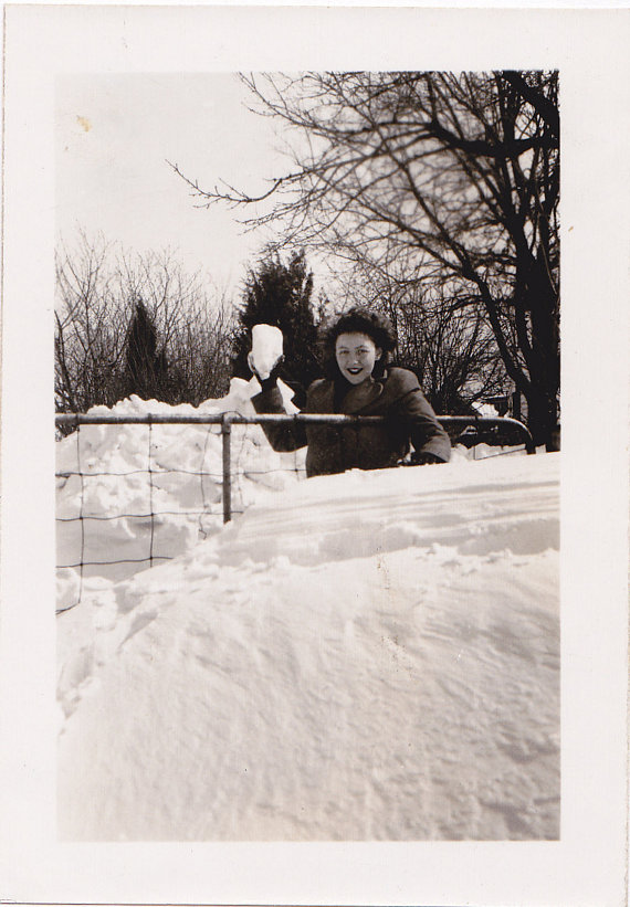 1940s woman in the snow vintage image