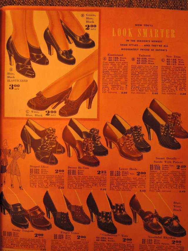 late 1940, early 1941's womens fall winter shoes from Eatons Catalogue