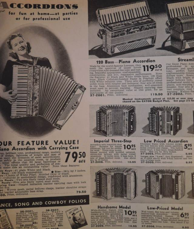 1940s Accordions for sale in Eatons Catalog