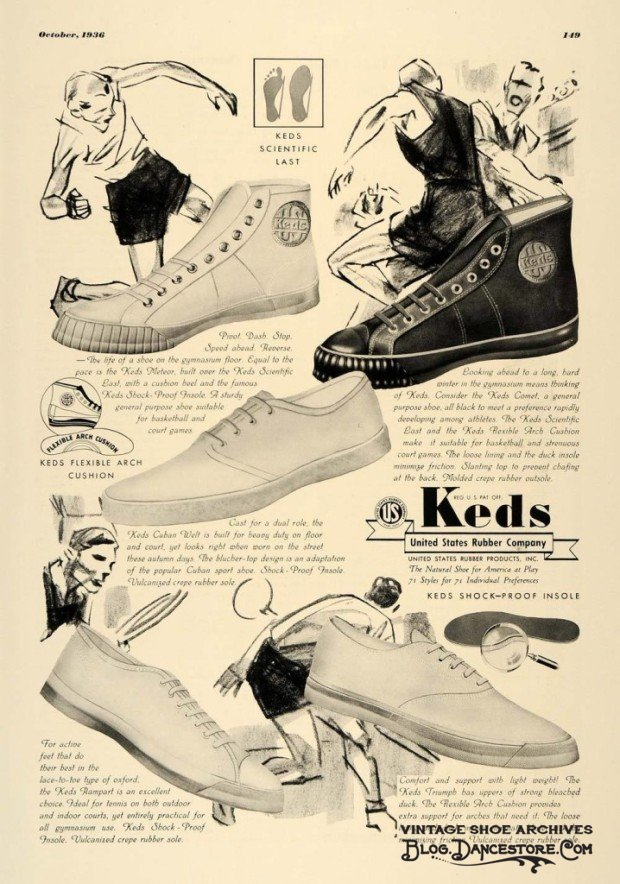 1936-ad-keds-rubber-shoe-feet-sports-shock-proof-insole vintage advertising