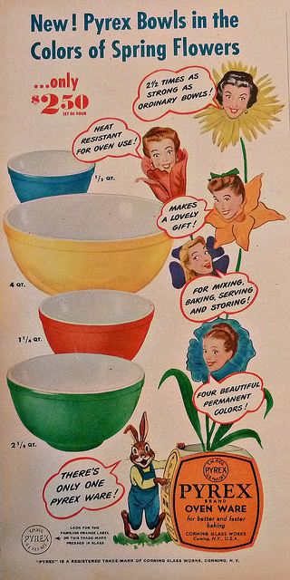 Vintage Pyrex Mixing Bowls Magazine Ad~1946