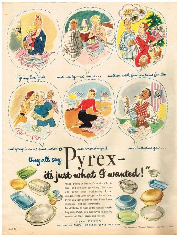 1950s vintage pyrex ad