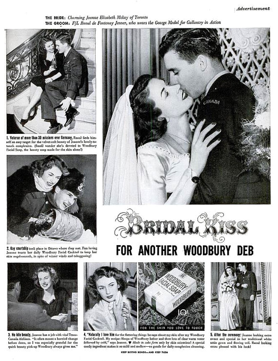 1945 Woodbury Soap Bridal Kiss Advertisement