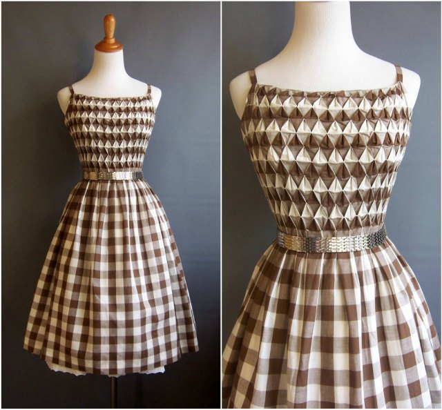 1950s Mr. Mort gingham dress smocking spaghetti straps 50s sundress 1950s sundress vintage gingham smocked