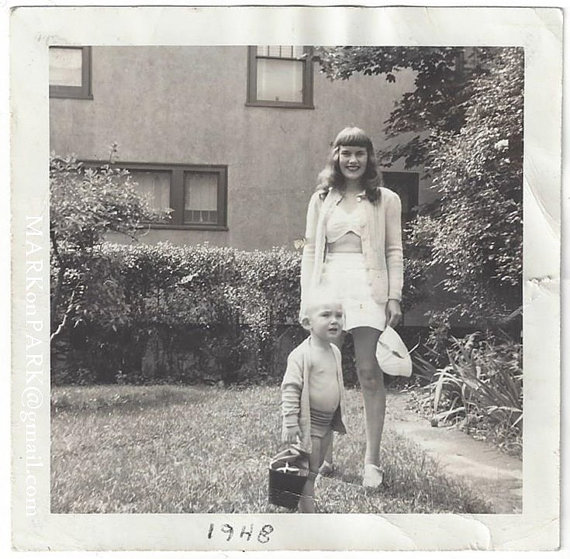 1940s mom and son vintage image