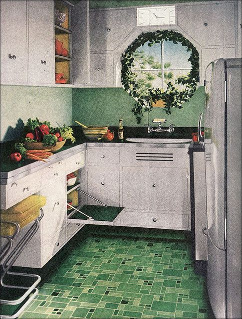 1945 Green Armstrong Kitchen Linoleum floor