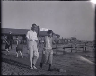 Ellen and Fred on beach, Port Dover August, 1923