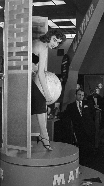 1950s woman at a trade show