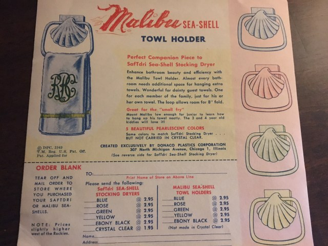 1949 Vintage towel holder vintage advertising