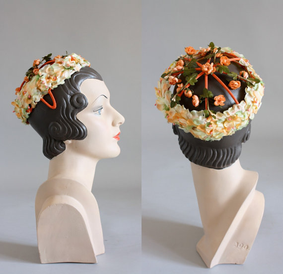 Vintage 50's orange and green floral skull cap.