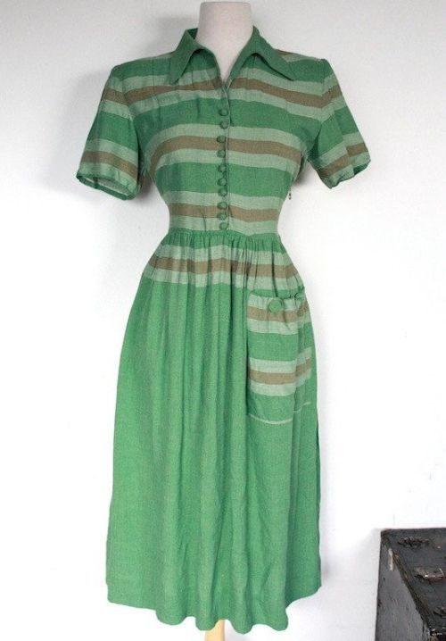 1940s Striped Cotton Day Dress