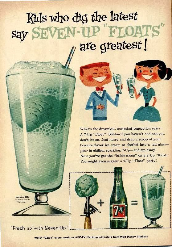 Seven-Up Floats vintage 1950s ad