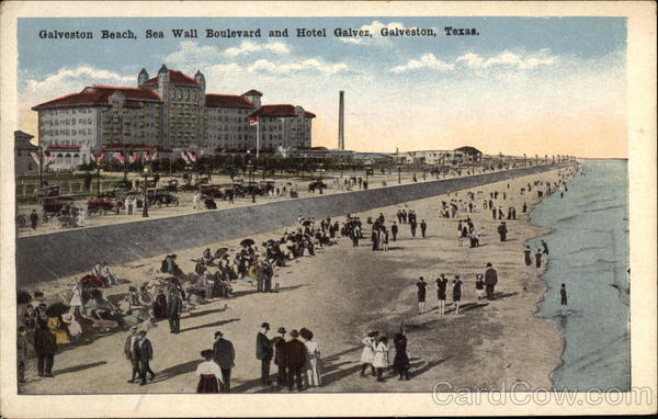 Galveston Beach, Sea Wall Boulevard and Hotel Galvez