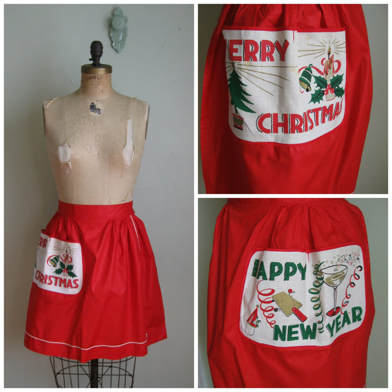 1950s vintage reversable apron merry christmas happy new year