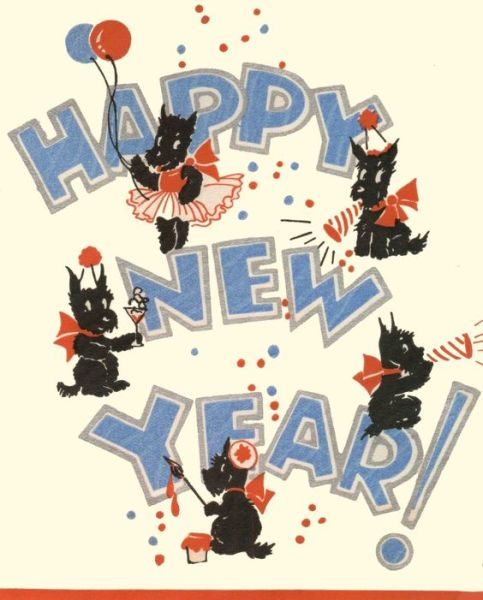 vintage scottie dogs happy new year