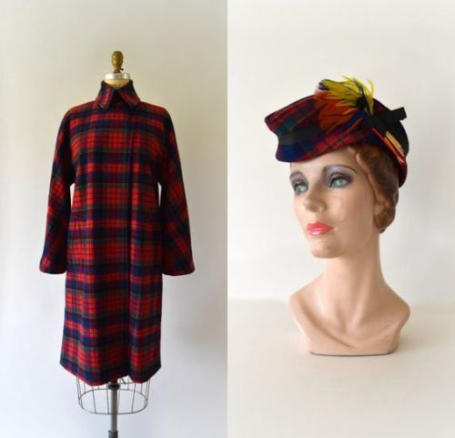 Red Plaid Wool Swing Coat and Hat Set