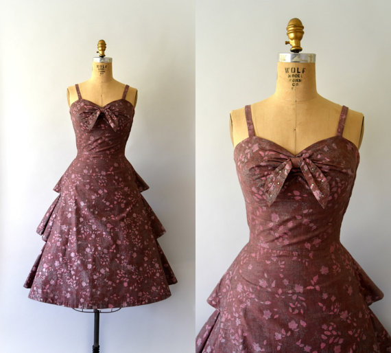 1950s Vintage Dress - 50s Pink and Silver Floral Cotton Dress