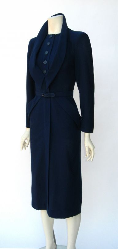 Vintage 1940s Dorothy O'Hara Navy Blue Wool Wiggle Dress