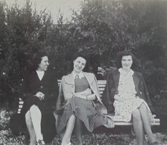 1940s vintage image of women sitting on a bench