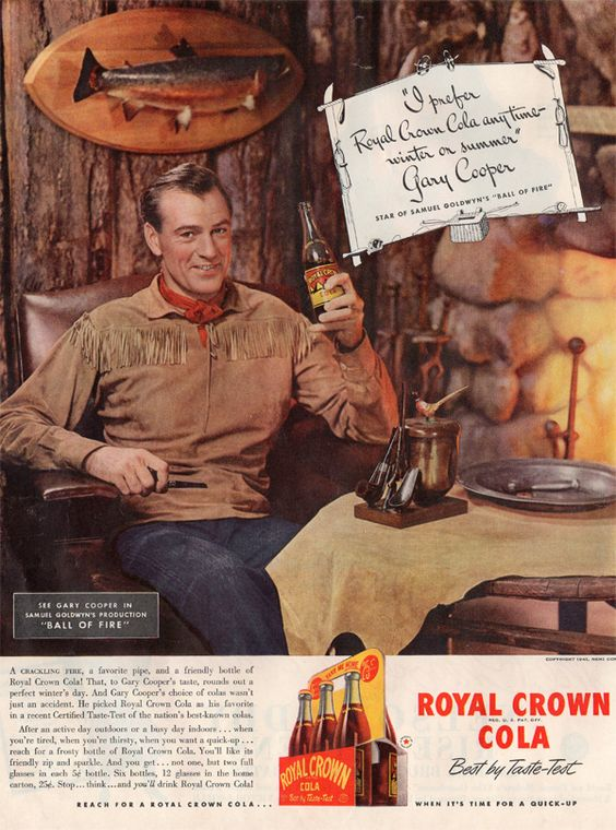 Gary Cooper RC Cola 1940s vintage ad