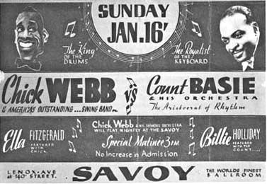 Count Basie vrs Chic Webb at the Savoy Ballroom vintage poster