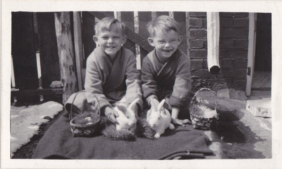 1930s vintage photo of boys at easter with real bunnies
