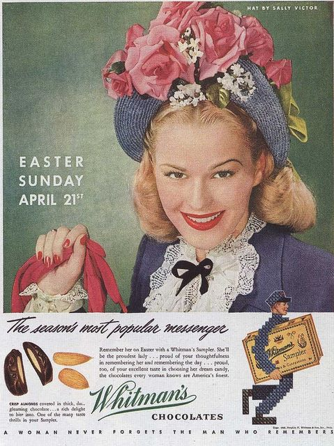 1946-- Sally Victor hats Whitman's Chocolate Ad