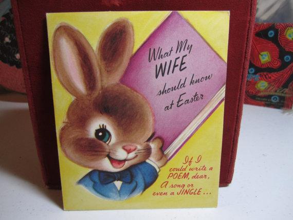 1950s vintage easter card front