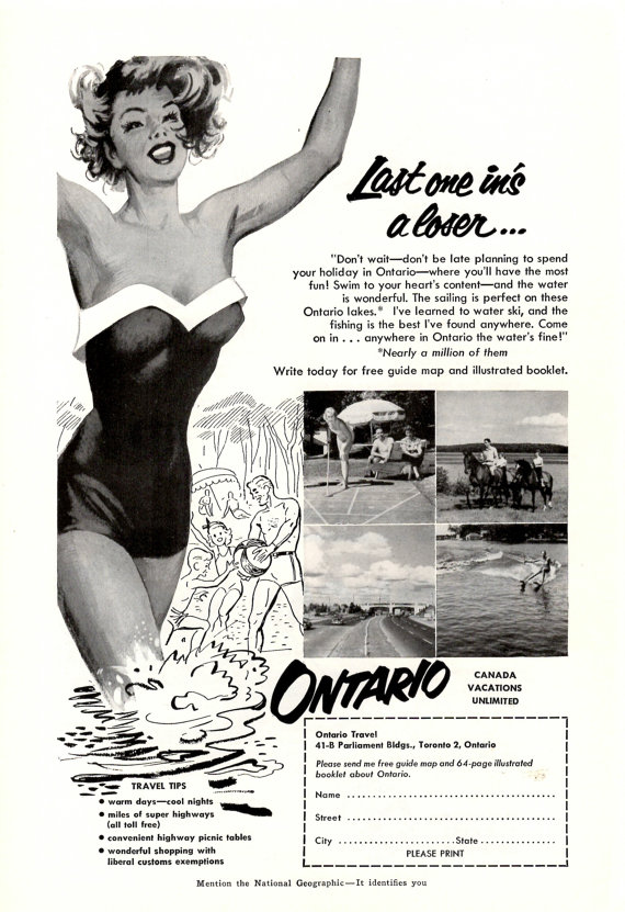 1953 Ontario Canada collectible vintage magazine ad