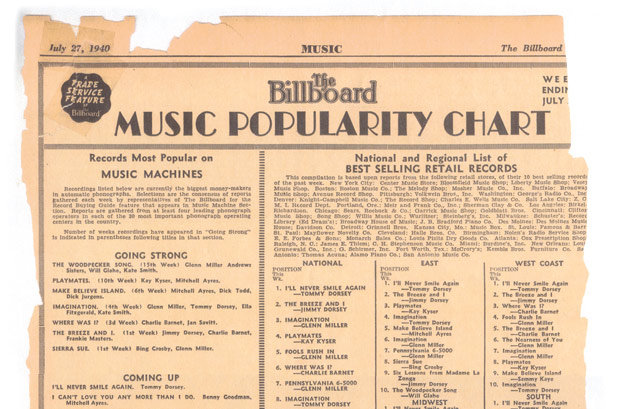 First billboard Chart 1940