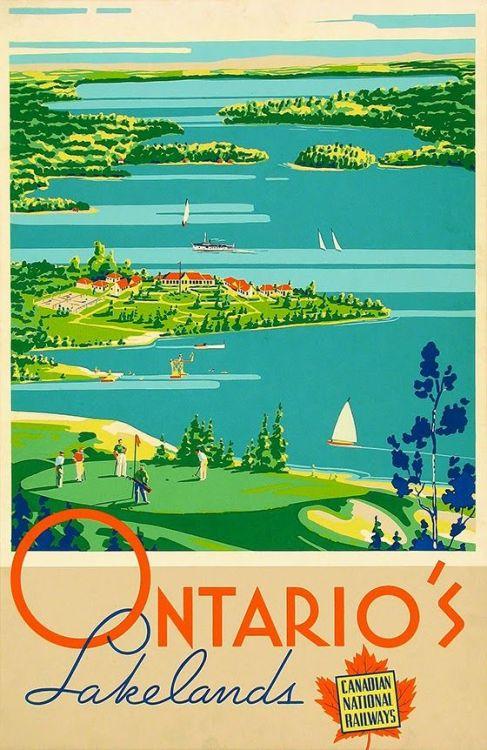 Ontario vintage travel poster Ontario's Lakelands