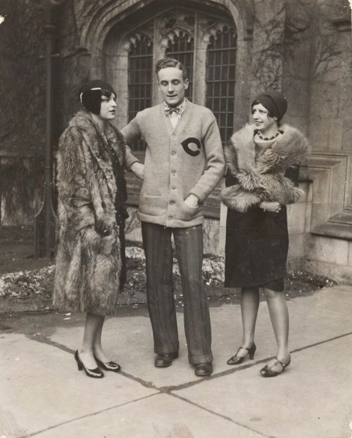 1920's vintage college image of 2 women and man vintage style university of chicago