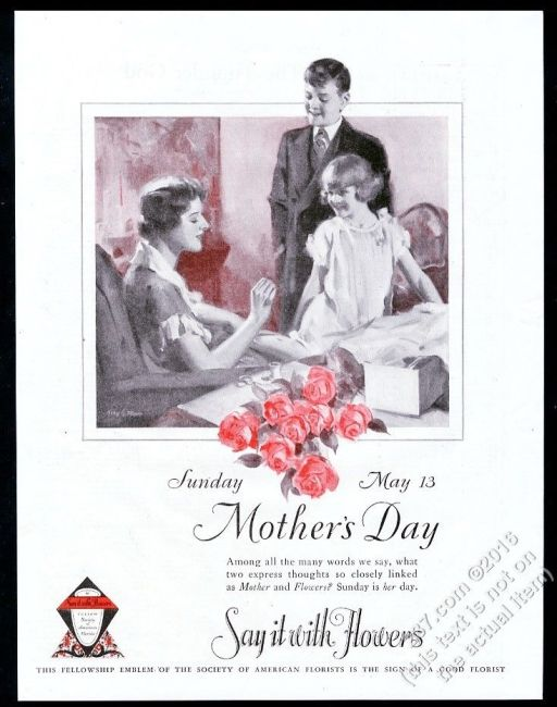 1928 Mother's Day theme Say It With Flowers florist vintage print ad