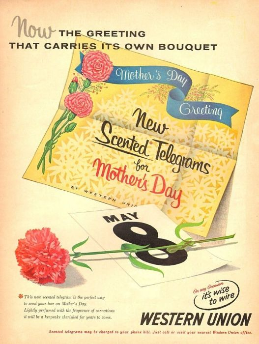 1950s vintage AD WESTERN UNION , Scented Telegrams for Mother's Day