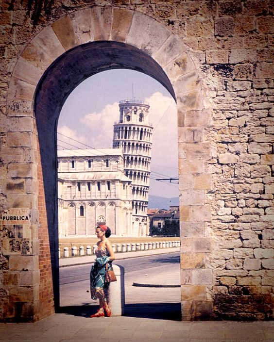 1951 Vintage Italy Image of Leaning Tower of Pisa vintage image