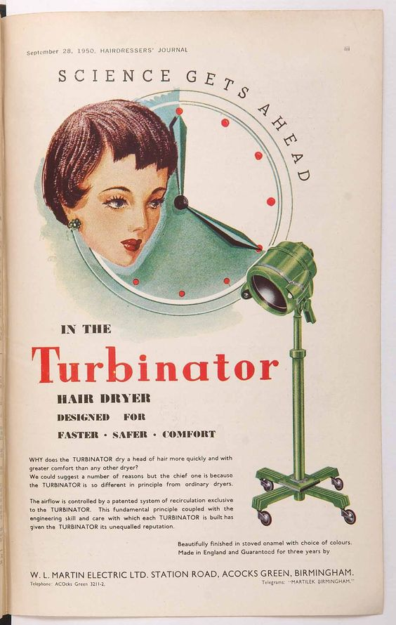 1950s vintage hair dryer advertisement