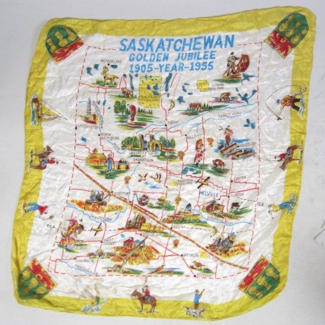 Saskatchewan souvenir scarf 1950s
