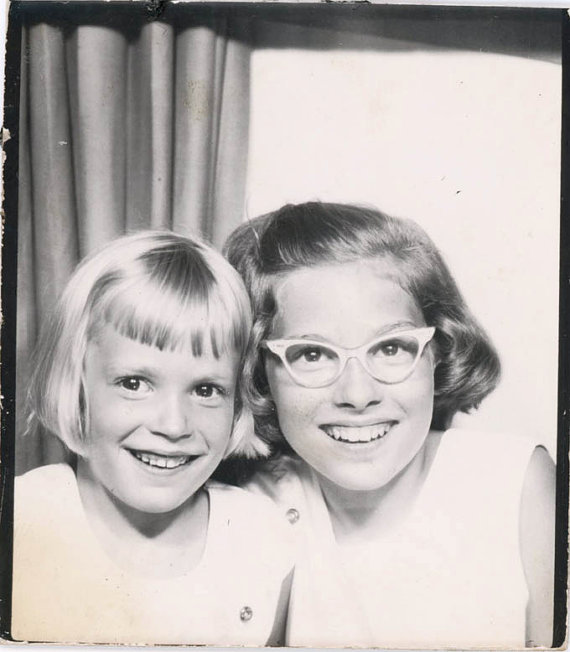vintage photo 1950s Photo Booth Cat Eye Glasses Young Girls