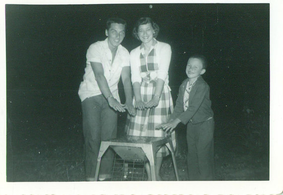 Barbeque Happy Family Warming Hands Over Grill 1950s Summer Picnic
