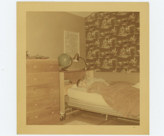 1955 Kodacolor Print Vintage Snapshot Photo Boy in His Bedroom
