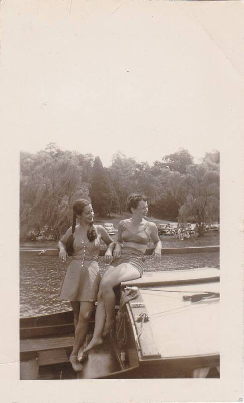 Floating Boats- 1940s Vintage Photograph- Women in Swimsuits- Two Piece Bikini