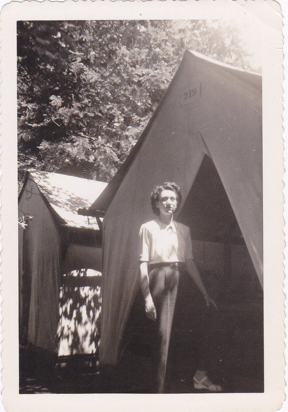 Tent Camping- 1940s Vintage Photograph