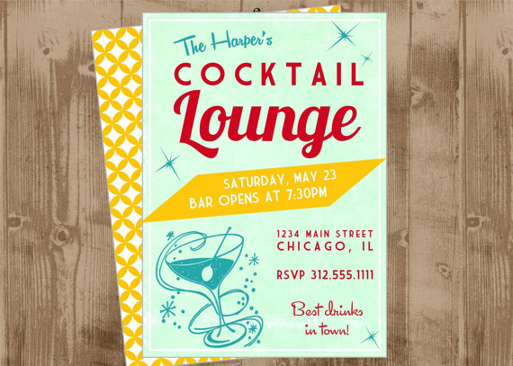 retro cocktail invite