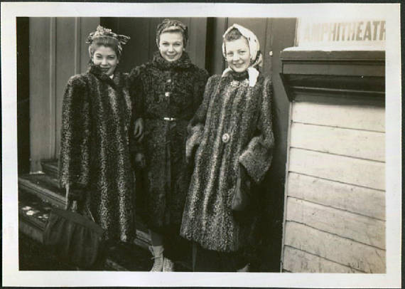 1940s young women in warm coats vintage photo