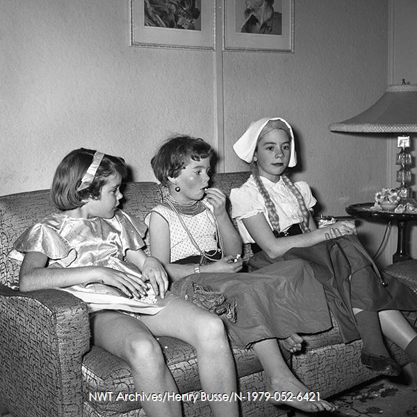 1955 vintage photo of 3 girls in halloween costumes