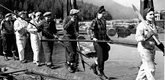 Female loggers ('lumberjills') in the Queen Charlotte Islands, BC. April 1943