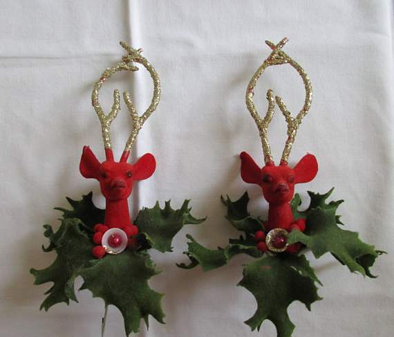 1950's Christmas Flocking Deer Ornaments